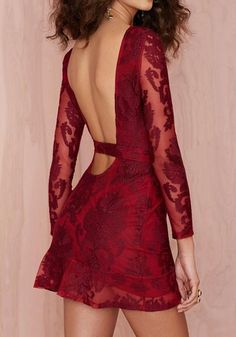 Wine Red Flowers Cut Out 3/4 Sleeves Open Back Lace Dress