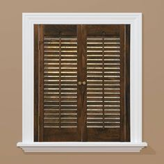 HomeBASICS Traditional Real Wood Walnut (Brown) Interior Shutter (Price  Varies By Size)