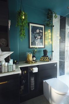 luxury teal master bathroom makeover reveal part 1 dark large dream eclectic bathroom inspir Teal Bathroom Decor, Eclectic Bathroom, Bathroom Plants, Bathroom Layout, Bathroom Interior Design, Bathroom Ideas, Bathroom Organization, Bathroom Cabinets, Bathroom Mirrors