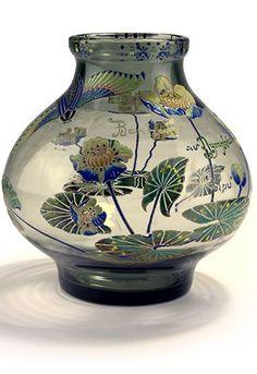 Gallé Vase 'Bonheur au Nymphéa bleu', 1885-89
