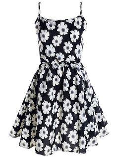 Cute Flower Printed Chiffon Leisure Lady's Casual Slip Dress on fashionsure.com