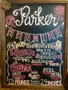 4 month old baby chalkboard. Monthly milestone chalkboard. DIY