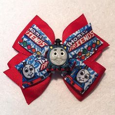 Thomas the Train Hair Bow by ItsEspecially4U #thomasthetrain #thomas the train #thomas #train #stacked #boutique #Pinwheel #hair #bow #clip