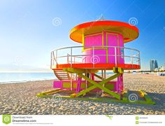 Sunrise In Miami Beach Florida, With A Colorful Pink Lifeguard ...