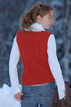patons cable sweater vest knitting pattern