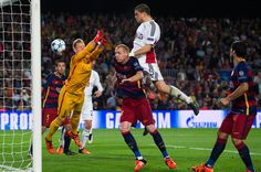 Kyriakos Papadopoulos of Bayer 04 Leverkusen scores the opening goal during the UEFA Champions League Group E match between FC Barcelona and Bayern 04 Leverkusen at Camp Nou on September 29, 2015 in Barcelona, Catalonia.
