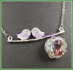 Cute bird and nest necklace jewelry