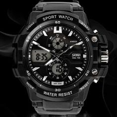 Dual Movement Sports Watch -Electronic - Digital - Analog -Shockproof - Silicone - Waterproof