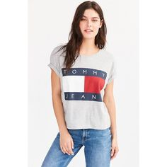 63bdaedf Tommy Jeans For UO '90s Tee ($50) ❤ liked on Polyvore featuring tops,  t-shirts, shirts, tees, tommy hilfiger t shirt, cropped shirts, t shirt,  tommy ...