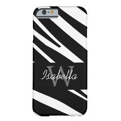 BLACK ZEBRA STRIPES INITIAL NAME BARELY THERE iPhone 6 CASE