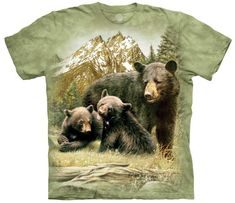 Black Bears Cubs Grizzly Family T Shirt The Mountain Black Bear Family Tee Black Bear Cub, Green Bear, Family Tees, Mountain Designs, Bear T Shirt, Bear Cubs, African Elephant, Tye Dye, T Shirts