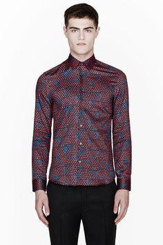 KENZO Red & Blue Snake Print Dress Shirt