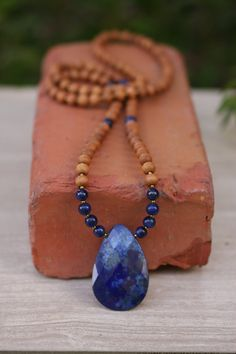 Lapis Lazuli Sandalwood Mala - Meditation Yoga Beads BOHO jewelry/ necklace / mala beads