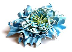 Turquoise leather brooch