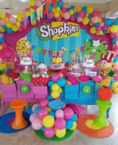 Shopkins Birthday Party Dessert Table and Decor @maelifiestas