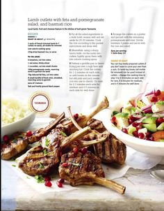 SW - Lamb cutlets with feta and pomegranate salad, and basmati rice