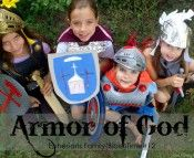 "Creative way to teach your children to stand strong in with the ""armor of God"""