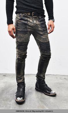 waxed italian jeans men | AVANT-GARDE HARDCORE WAX COATED GRUNGE MILITARY CAMOUFLAGE BIKER JEANS ...