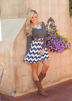 Bottoms Up Belted Chevron Dress Charcoal - Modern Vintage Boutique