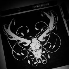All done for the night my back is killing me! It's not perfect but I'll be scanning and re-working digitally but im 95% happy with it haha  @theweirdandwonderful #stickercomp #stickerdesign #graphicdesign #illustration #tattoos #deer #skull #taxidermy #blackandwhite #vines #leaves #pattern #nature #symmetry #drawing #unipointfineliner #workinprogress #sketch #pendrawing #skulls #bones