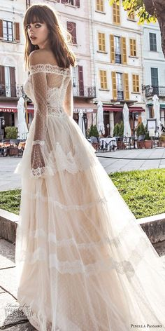 Weddinginspirasi.com featuring - pinella passaro 2018 bridal off the shoulder long poet sleeves straight across neckline lace romantic a line wedding dress lace back chapel train (3) zbv -- Pinella Passaro 2018 Wedding Dresses #wedding #weddings #bridal #weddingdress #weddingdresses #bride #fashion #italy #label:PinellaPassaro #week:482017 #year:2018 ~