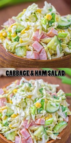 Made with fresh cabbage, cucumbers, ham, corn and scallions, this tasty and crunchy Cabbage and Ham Salad makes a quick lunch or side dish. Low Carb Recipes, Cooking Recipes, Healthy Recipes, Healthy Food, Healthy Broccoli Salad, Diabetic Recipes, Healthy Meals, Vegetarian Recipes, Cabbage Recipes