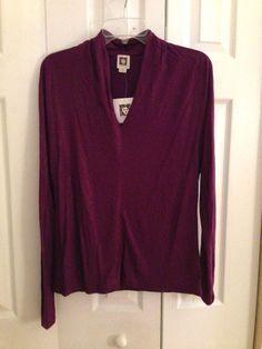 Anne Klein Purple V-Neck Long Sleeve Top Size M #AnneKlein #VNeckTop