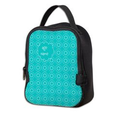 Bright Pretty Custom Turquoise Green Dotted Pattern Neoprene Lunch Bag, editable text.