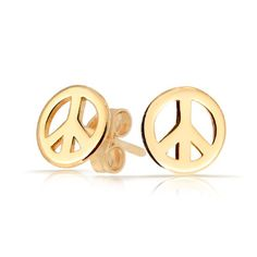 Bling Jewelry Childrens Jewelry Gold Vermeil Peace Sign Stud Earrings - Bling, Childrens, Earrings., Gold, Jewelry, Peace, Sign, Stud, Vermeil - http://designerjewelrygalleria.com/designer-jewelry-galleria/bling-jewelry-childrens-jewelry-gold-vermeil-peace-sign-stud-earrings/