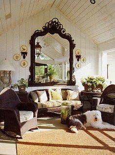 LOVE THIS ROOM!A massive antique mirror from Cincinnati dominates one end of the sleeping porch, which is furnished in a mix of old wicker pieces -- I love the mirror and the shabby chic formation of this room. Beautiful Mirrors, Beautiful Space, Beautiful Homes, Stunningly Beautiful, Beautiful Pictures, Home Design, Interior Design, Room Interior, Outdoor Rooms