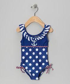 Blue & White Polka Dot Ruffle One-Piece - Infant, Toddler & Girls