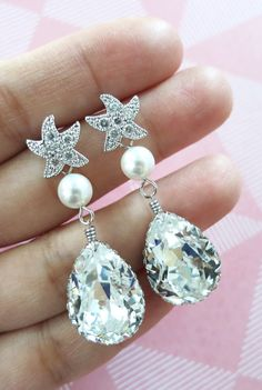 Cubic Zirconia Starfish Earrings Swarovski Crystal Teardrop, gift for her, Bridal, Beach Wedding Earrings, Bridesmaids, silver, www.glitzandlove.com