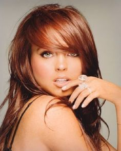 Auburn Hair is in...This is what color I'd dye my hair if I ever decided to go red.  On another note...what the hell happened to Lindsay Lohan???  She was so pretty back then!!