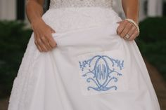 Adding your monogram to your dress is a fun, intimate detail to your special day! #FearringtonWedding #FearringtonVillage | Photographed by @krystalkast #krystalkastphotography