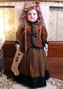 "Antique Bisque Turned Shoulder-Head Doll, AM 370, Germany, 19"", ca 1890, Dressed"