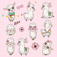 Collection cute llama alpaca vicuna set kawaii vector image on VectorStock Alpacas, Cute Alpaca, Llama Alpaca, Kawaii Alpaca, Alpaca Drawing, Wallpaper Kawaii, Llama Face, Kids Room Art, Dark Fantasy Art