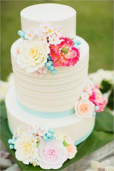 tropical blue and pink wedding cake @weddingchicks