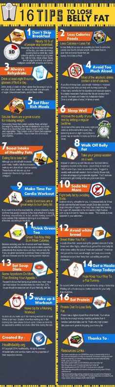 16 Useful Tips To Rid of Belly Fat Infographic. Having too much fat around your midsection doesn't only make your body not looking good, but it's also pret
