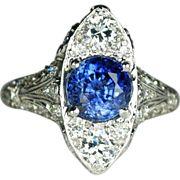 Edwardian Platinum, Diamond and Natural No-Heat Sapphire Ring