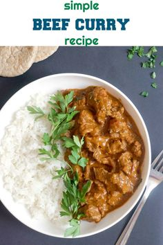 Simple Beef Curry Recipe, a wonderfully fragrant dish that is hearty and filling. The beef simply melts in the mouth, while the sauce has a lovely mild Indian flavour. A big favourite for dinner. Curry Dishes, Beef Dishes, Beef Curry Indian, Simple Beef Curry, Slow Cooker Beef Curry, Indian Food Recipes, Ethnic Recipes, African Recipes, Curry Recipes