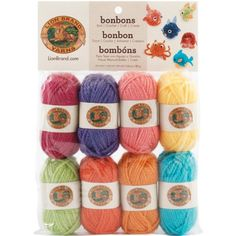 Lion Brand Bonbons Yarn Brights Acrylic is a mini-skein of yarn that comes in a pack of eight skeins with assorted colors. Try these mini-skein collections called Bonbons new from Lion Brand. These mini-skeins are great to have on hand for when you Crochet Crafts, Crochet Yarn, Yarn Crafts, Crochet Projects, Sewing Crafts, Tree Crafts, Easter Crochet, Crochet Kits, Crochet Bunting