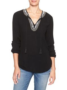 Embroidered long-sleeve popover top | Gap Factory