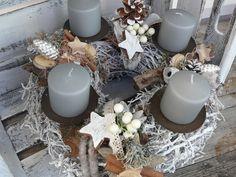 Adventskranz - Adventskranz grau braun weiß - ein Designerstück von LeRoe bei DaWanda