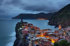 Vernazza Twilight Cinque Terre Liguria Italy by TheWorldExplored Sea Photography, Travel Photography, Under The Shadow, Riomaggiore, Fishing Villages, Mediterranean Sea, Amalfi, Travel Pictures, Beautiful Places