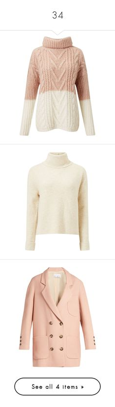 """""""34"""" by sunshane ❤ liked on Polyvore featuring tops, sweaters, shirts, jumpers, pink, cream cable knit sweater, color block sweater, color-block sweater, pink shirt and chunky cream sweater"""
