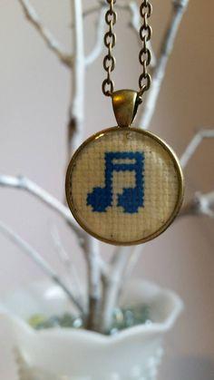 Cross stitch resin pendant music note pendant by mydisheveledducks