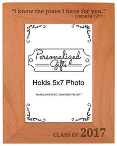 Graduation Gifts Christian Verse Class of 2017 Natural Wood Engraved 5x7 Portrait Picture Frame Wood >>> You can get more details by clicking on the image.