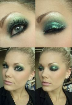glitter green makeup - Linda Hallberg