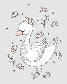Royal Swan - Swan Nursery Art - by Sweet Melody Designs