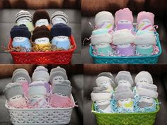 Diaper Babies Gift Basket - Adorable basket of socks, wash cloths and diapers for expecting moms, baby shower gifts or party favors!